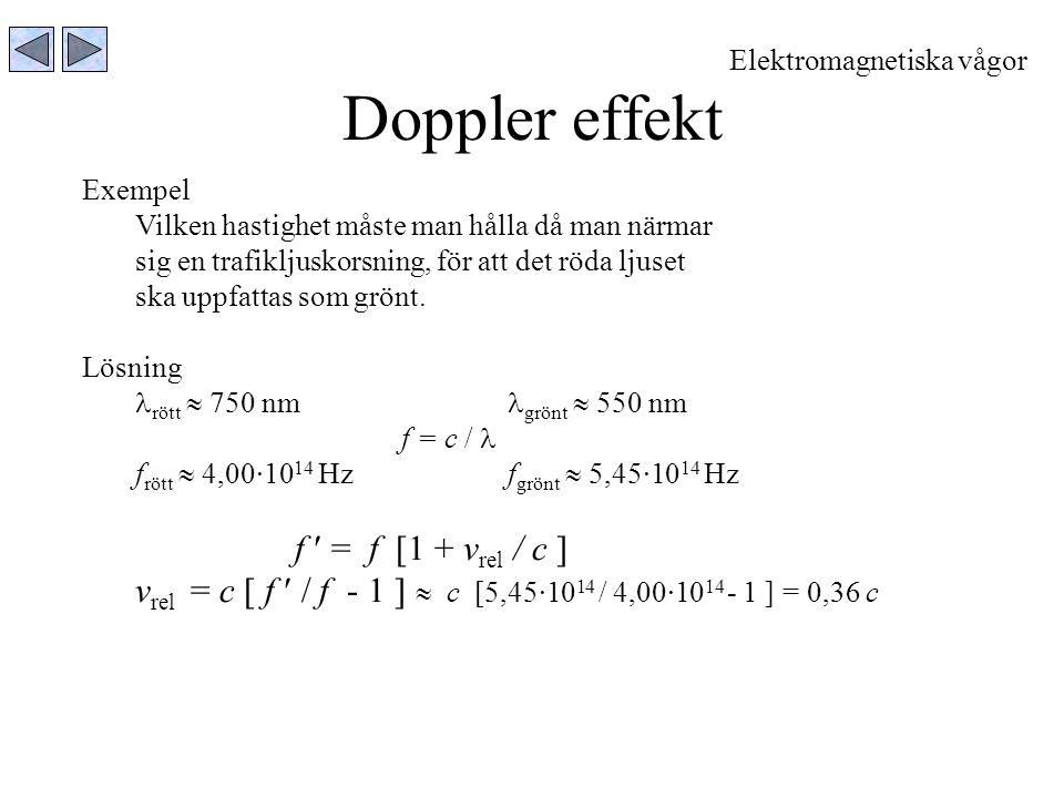 Doppler effekt f  = f [1 + vrel / c ]